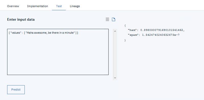 Testing deployments - IBM Watson